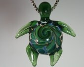 Lampwork Pendant - Blown Glass Sea Turtle Jewelry - Hand Blown Necklace - Kyle Keeler