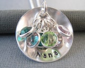 Personalized Necklace - Hand Stamped Sterling Silver Mommy Jewelry - The Nana Necklace with Swarovski Crystal Birthstones