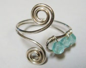 Blue Topaz Ring - Spiral Wire Wrap Sterling Silver Ring Adorned With Blue Topaz Gemstones - Blue Topaz Jewelry