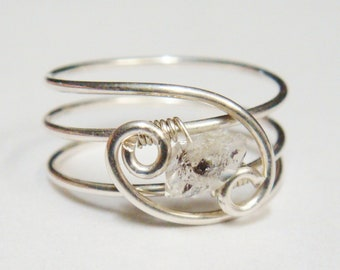 Diamond Ring   Herkimer Diamond  Silver Rings   Silver Ring  Diamond   Herkimer Tourmalated Quartz Ring   Sterling Silver Wire Wrapped Ring