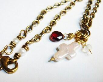 Cross Necklace    Pearl Cross Necklace    Pearl Garnet Moonstone Necklace in Brass   Garnet Necklace    Moonstone Pendant