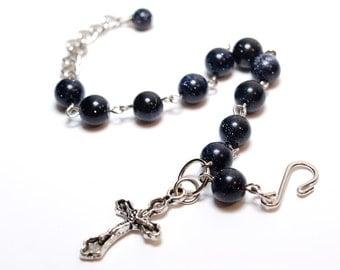Cyber Monday Sale Christmas Gift Blue Goldstone Rosary Bracelet