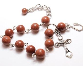 Brown Goldstone Rosary Bracelet
