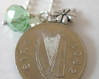 AUTHENTIC 1982 IRISH Coin Charm Necklace-1982 SILVER Irish 5 Pence