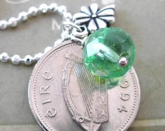 1994 IRISH Coin Charm Necklace-1994 SILVER Irish 10 Pence Irish Necklace