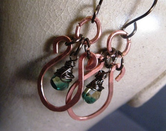 Free Gift Wrap - Hammered Copper and Kelly Quartz Earrings