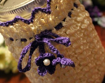 Crochet Cream and Purple  Mason Jar cozy
