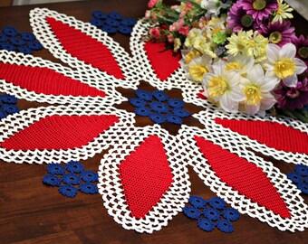 Large Crochet Americana rosettes doily