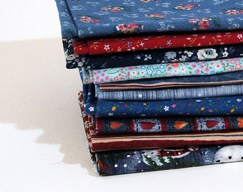 Ten Fat Quarters, 10 Blues, Reds, Fabric Bundle