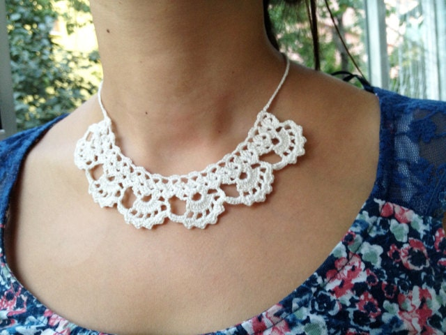 Crochet Necklace : PDF Tutorial Crochet Pattern... Lace Jewelry Necklace 1 Etsy