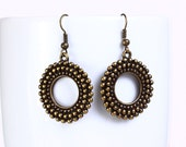 Antique brass filigree round drop dangle earrings (526) - Flat rate shipping