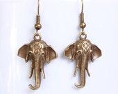 Antique brass elephant dangle earrings (613) - Flat rate shipping