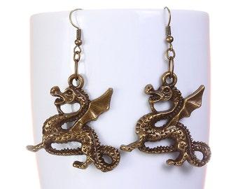 Antique brass dragon drop dangle earrings (583) - Flat rate shipping