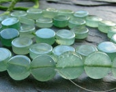ON SALE Natural Green Quartz, Smooth Coin Beads, Full strand, 12.5 - 13mm (8w3)
