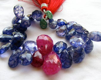 "ON SALE Multi Crackle Quartz Faceted Pear Briolettes, 6.5"" inch strand with 36 Beads 8.5 - 20mm (8w32b)"