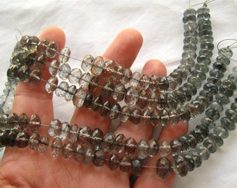 "Gray Mystic Quartz faceted Rondelles, 7"" inch strand, 8mm beads (8w111)"