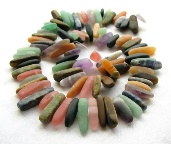 Natural Multi Stone Stick Beads, 7.5 inches, 10mm - 20mm