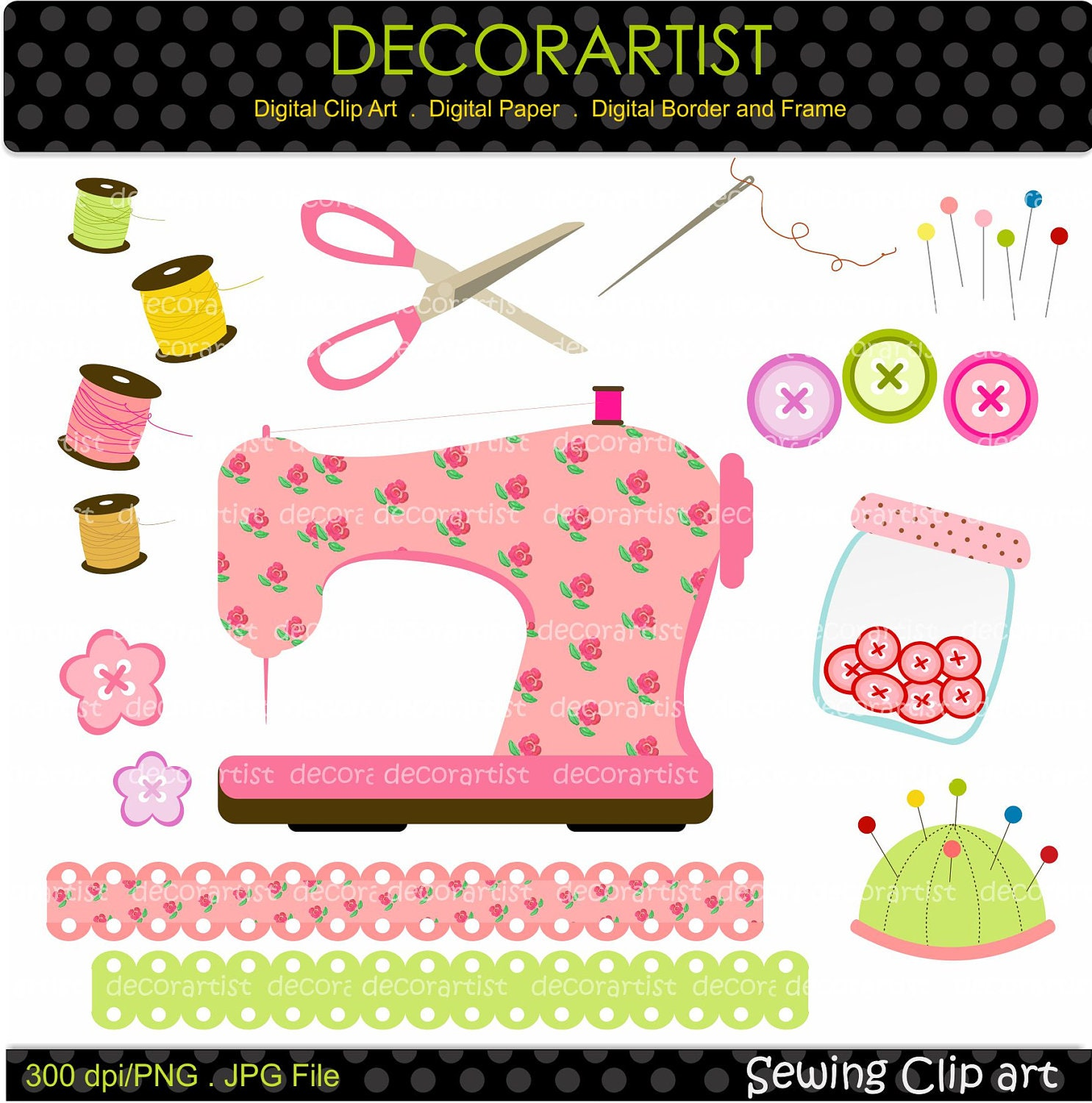Sewing clip art sewing machine craft digital clip by for Arts and crafts sewing machine