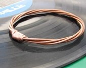 Recycled PIANO String Bracelet copper colored mens or womens Teacher Gift