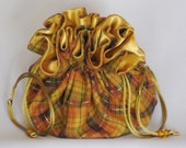 Plaid Fall Colors---Large Jewelry Travel Tote---Drawstring Organizer Pouch