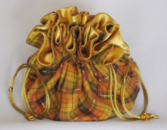 Jewelry Travel Tote---Drawstring Organizer Pouch---Plaid Fall Colors--------Large Size