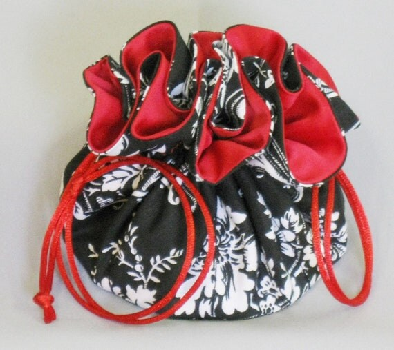 Jewelry Drawstring Tote---Organizer Travel Pouch---Black & White Damask Fabric---Medium Size