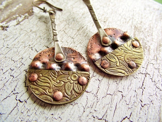 Mixed Metal Earrings Brass Copper and Sterling Dangle Earrings