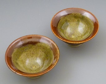 Green and Rusty Brown Dipping Bowls set of two set 1