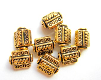 24 Beads antiqued gold jewelry making supply 7.5mm x 9mm HP(X2),