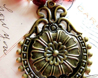 6 Antique Bronze victorian style Pendants stamped pendants renaissance Connnector Embellishments