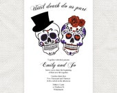 until death do us part wedding invitation sugar skulls - printable file Dia de los Muertos halloween engagement party invite day of the dead