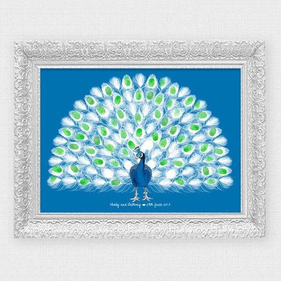 Peacock Wedding Fingerprint Guest Book Printable File