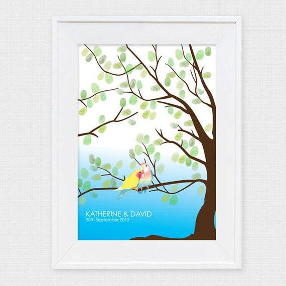 fingerprint tree love birds wedding or engagement guest book alternative - printable file diy thumbprint illustration personalized custom