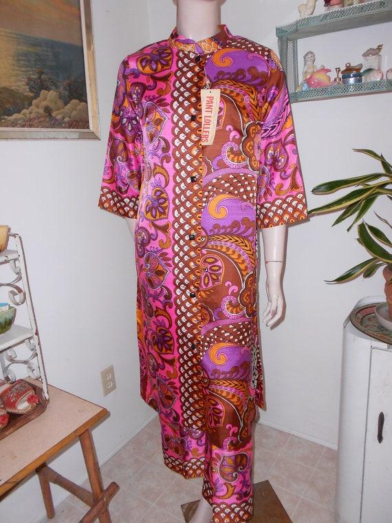 1960's-70's Pink/Purple Psychedlic Print Lounging Set (Pants & Tunic/Coat) - Size M-L
