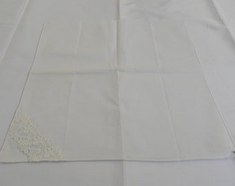 Set Three Handerchief White With lace Edge Vintage Linens (139E)