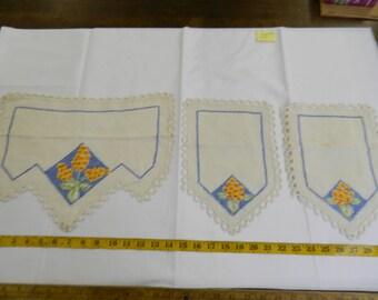 Set of 3 Vintage Hand Stitched Orange & Blue Floral Doiley (152E)