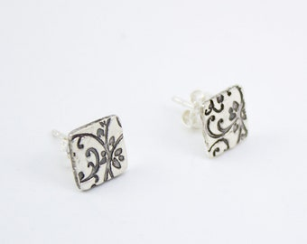 Vine silver square stud earrings