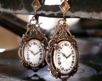 Steampunk With A Victorian Style, Time Stands Still Earrings, Hand Made in USA