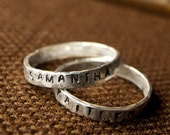 Personalized Ring, Hand Stamped Silver Stacking Rings, Custom Name Rings