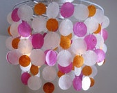 "Seaside Dreams Pink Orange and Natural Custom 14"" Semi-Flushmount Chandelier MADE TO ORDER"
