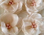 Organza flowers 6 pcs. ivory organza flowers  with pink pearls