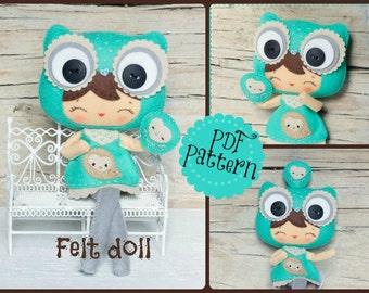 PDF. Owl girl with puppet. Plush Doll Pattern, Softie Pattern, Soft felt Toy Pattern.