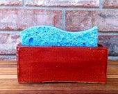 Handmade Extra Large  Sangiovese Orange Ceramic Sponge/Business Card Holder