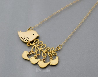 Mother bird Necklace, family jewelry, branch necklace, Mama bird 2,3,4 four baby birds, small charm pendant, gold filled chain, mom love kid