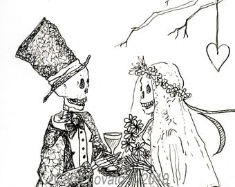 day of the Dead, skeleton Wedding, Pen & Ink drawing, Halloween wedding, Skeleton Bride, Gothic Valentine, Giclee Print, Wine