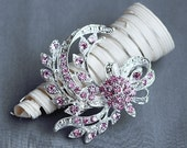 Rhinestone Brooch Component Crystal Light Rose Pink Hair Comb Shoe Clip Pin Wedding Cake Decoration BR132