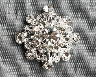 10 Rhinestone Buttons Diamond Square Diamante Crystal Flower Comb Wedding Invitation Scrapbooking Ring Pillow Napkin Ring BT059