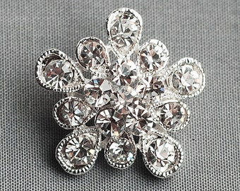 10 Rhinestone Buttons Crystal Hair Comb Wedding Bouquet Invitation Album Scrapbooking Pillow Napkin Ring BT070