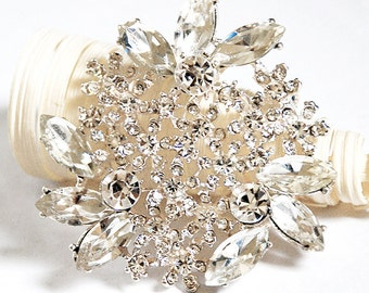 "Rhinestone Brooch Component 2.2"" Crystal Flower Bridal Hair Comb Shoe Clip Pin Wedding Cake Decoration Invitation BR067"