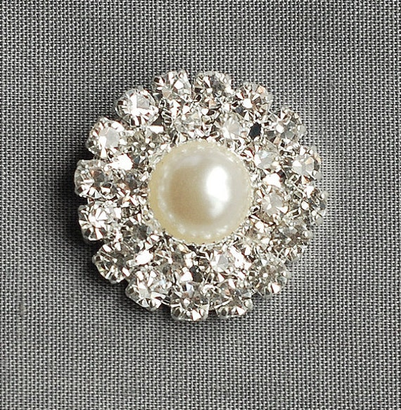 20 Round Circle Two Row Diamante Crystal Rhinestone Button Hair Flower Clip Wedding Invitation Scrapbooking Napkin Ring BT029